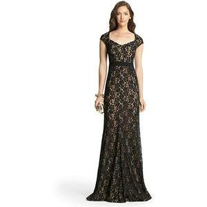 Diane von Furstenberg black lace long evening gown